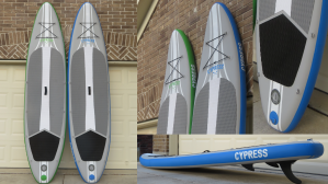Multiple views of the green and blue Cypress paddle board
