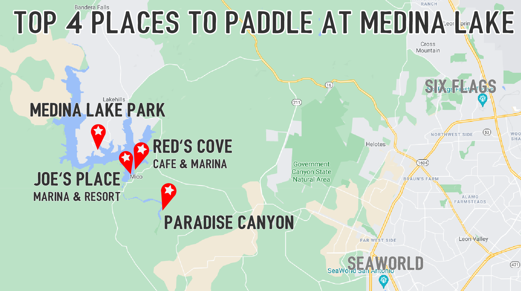 Medina Lake map of 4 places with title wide