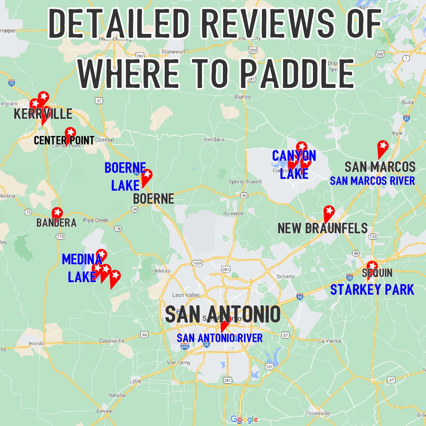 Map of where to paddle board and kayak near San Antonio